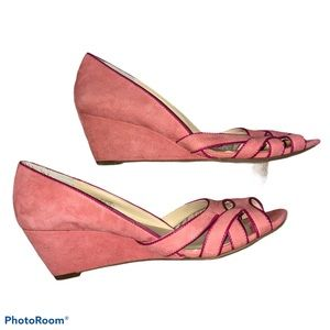 Sole Society pink suede So-Danna wedges 8 1/2
